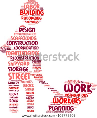 work in progress concept pictogram tag cloud with colored words on white background / work in progress symbol word cloud