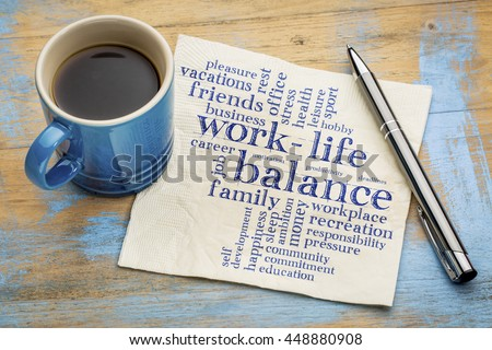 work life balance word cloud - handwriting on a napkin with a cup of coffee #448880908