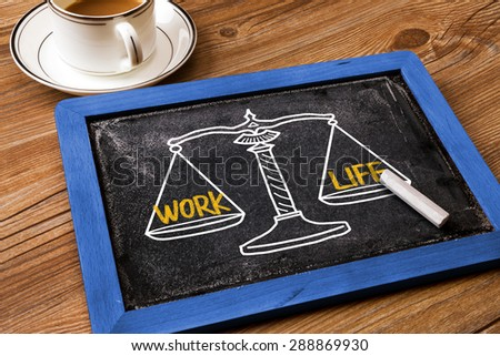 work life concept on balance scale