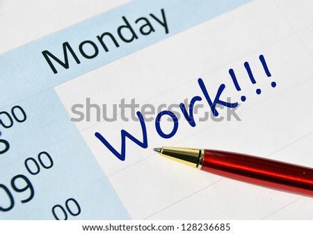 Work note in the agenda