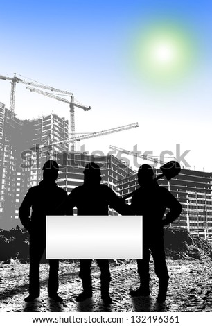 Work on building objects, silhouettes of workers