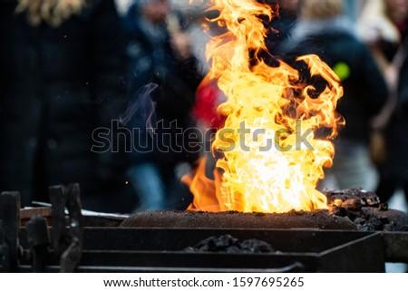 work on fire of blacksmith furnace Foto d'archivio ©
