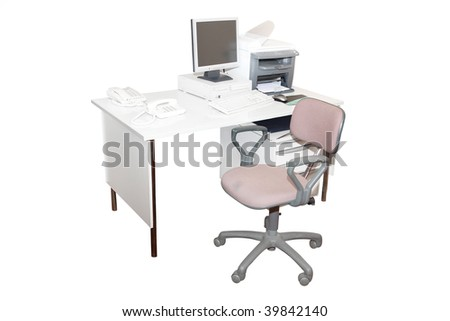 work place isolated under the white background