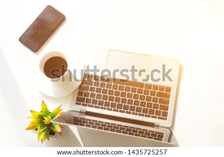 Work place. Work at home. Working online. computer.
