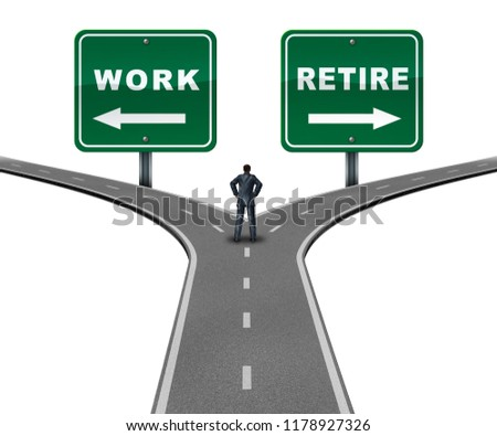 Work retire direction concept as a worker making a decision to continue working or retiring with 3D illustration elements.