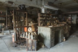 Work room with tools and equipment in turn of the century silk throwing factory.
