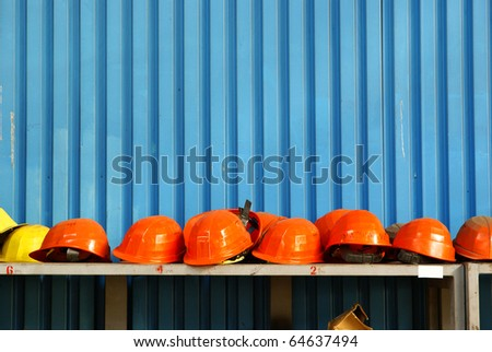 Work safety helmets in industrial site.