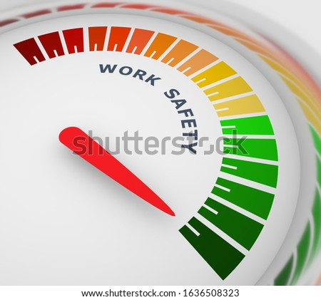 Work safety level scale with arrow. The measuring device icon. Sign tachometer, speedometer, indicators. Infographic gauge element. 3D rendering