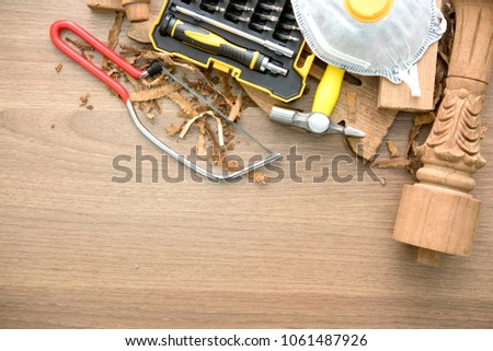 work shop  space top view with carpentry and home improvement construction tools.industrial and DIY concept #1061487926