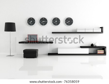 work space in a minimalist living room - rendering