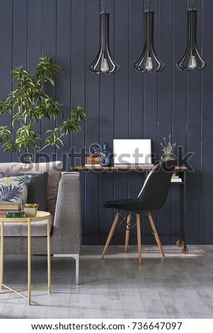 work station interior decoration black wall modern living room concept green flower vertical banner