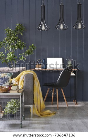 work station interior decoration black wall modern living room concept green flower vertical banner