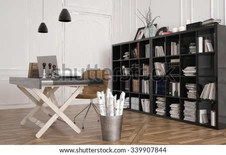 Work table or design workbench in an office interior with a large bookshelf on the wall filled with binders, magazines and books. 3d Rendering. #339907844