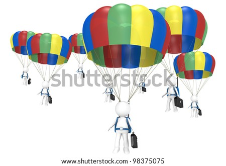 Work Team. 3D little human characters X 8 with Parachutes and Briefcases. People series.