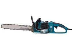 Work tool Big old chainsaw isolated on white background