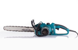 Work tool Big old chainsaw isolated on white background Retro style