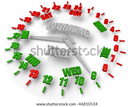 Work week clock. Working time 8 hours 5 days. Open time green, closed time red. Business activity.
