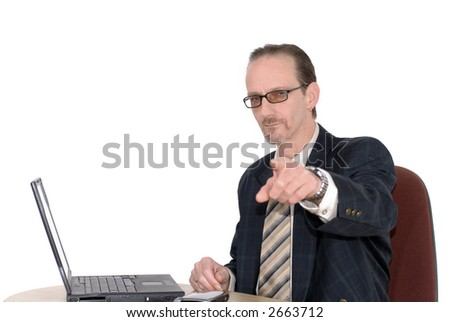 Workaholic, businessman, boss working on  laptop, pointing at you. Business, corporate concept.