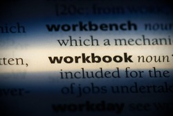 workbook word in a dictionary. workbook concept, definition.