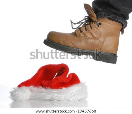 workboot stomping on santa hat - hard times at christmas