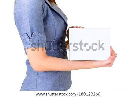 Worker carrying closed cardboard box isolate on white background