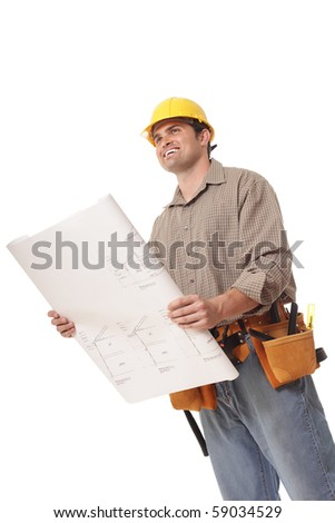 Worker excitedly looking toward copy space while holding open a blueprint