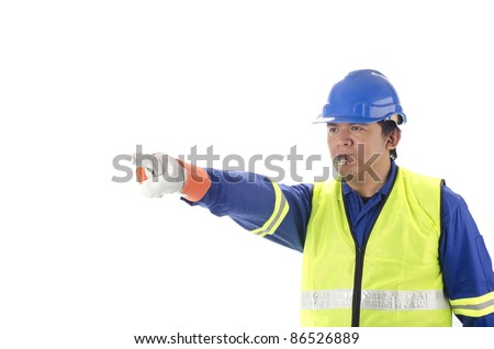 Worker giving direction with blowing whistle on white background