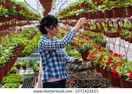 Worker hanging a pot #1071422615