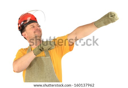 Worker hold hands visional working tool. Isolated on a white background.