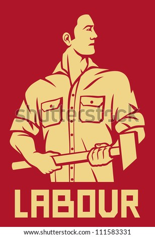 worker holding a hammer (poster for labor day, male worker with hammer, workers design)
