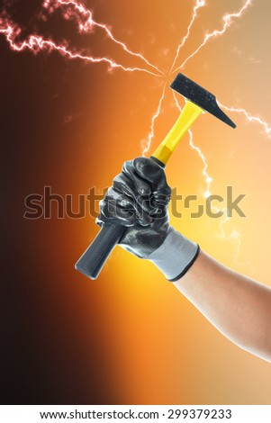 worker holding a tool to work with your hand