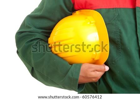 Worker holding helmet, isolated over white