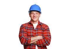 Worker in blue helmet.