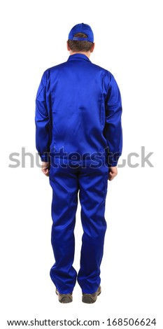 Worker in blue workwear. Back view. Isolated on a white background.