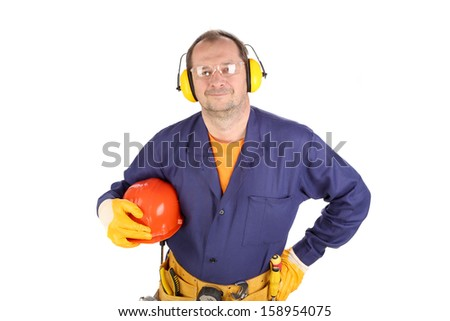 Worker in ear muffs and glasses. Isolated on a white backgropund.