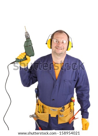 Worker in ear muffs and glasses with drill. Isolated on a white backgropund. - stock photo