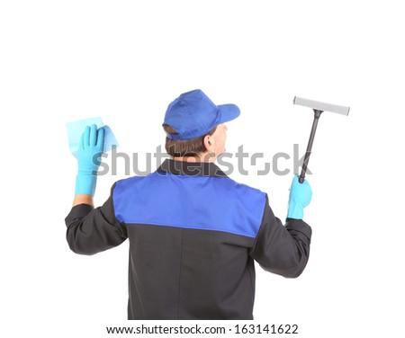 Worker in gloves with window cleaner. Isolated on a white backgropund.