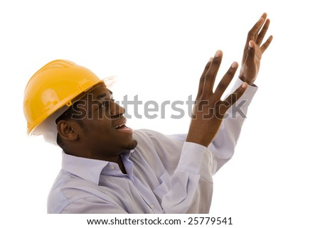 Worker looking up with a panic expression