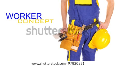 Worker man over white background
