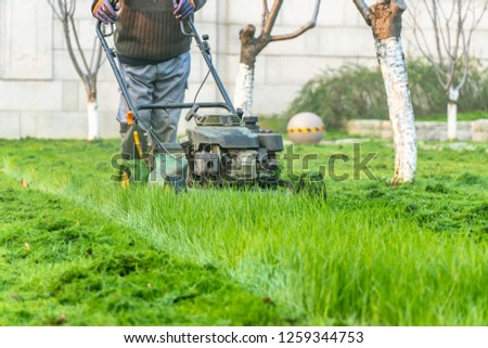 worker mowing lawns during sunset #1259344753