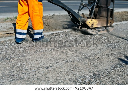 Worker on a road construction