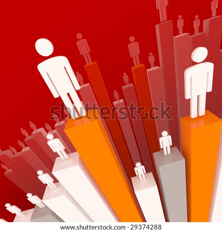 worker on business 3d graph stat background - stock photo