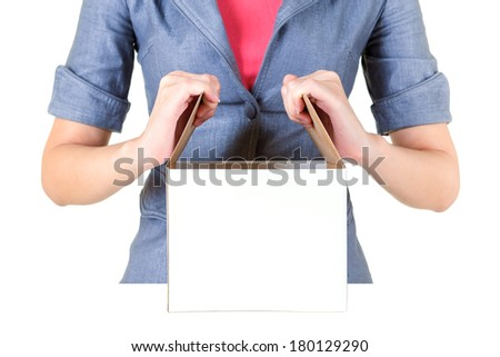 Worker open cardboard box isolate on white background