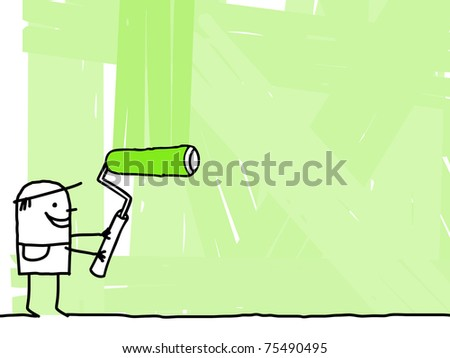 worker painting a green background