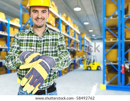 worker portrait in classic storage warehouse