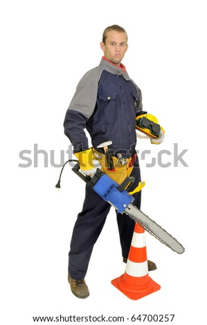 Worker posing with chainsaw isolated in white
