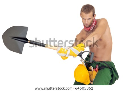 Worker posing with shovel isolated in white