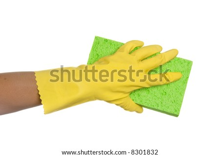 Worker protecting hand from detergents as they use a cleaning sponge. - stock photo