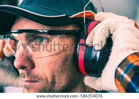 Worker Protection Equipment. Hearing Protectors and Glasses.