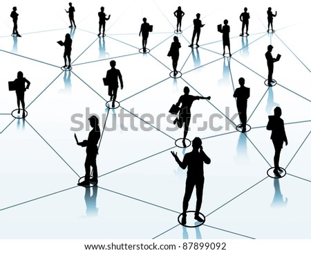 worker standing on a virtual connection, network
